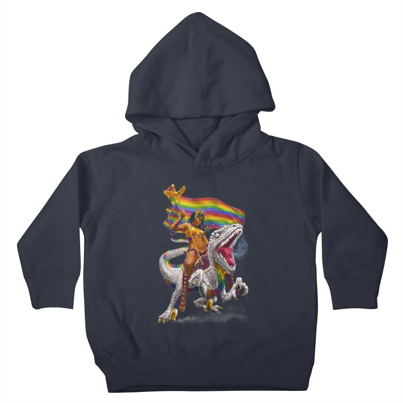 Liberty Rainbow Raptor Kids Toddler Pullover Hoody by Ayota Illustration Shop