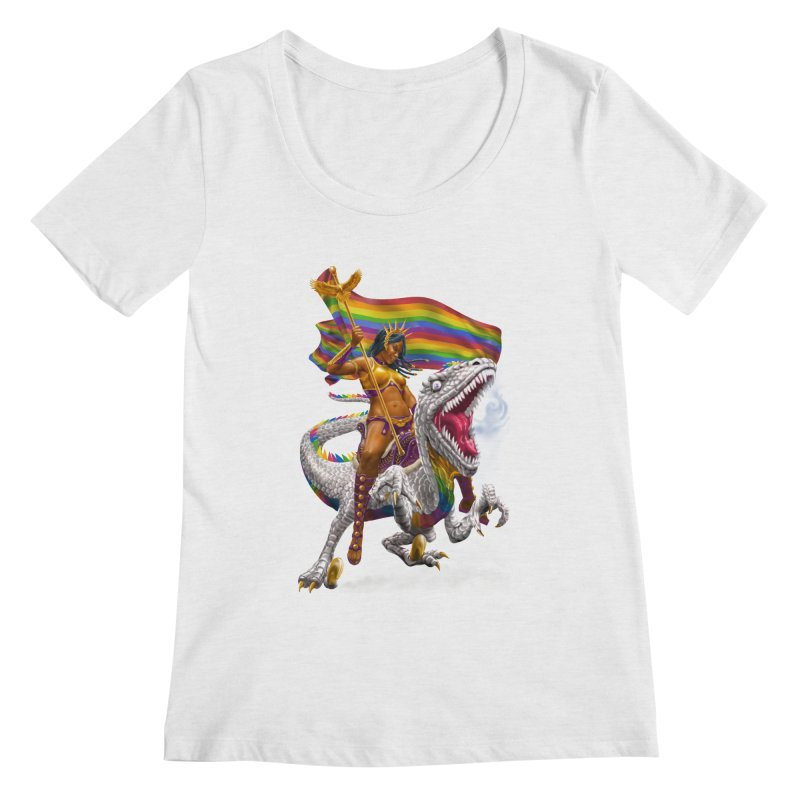 Liberty Rainbow Raptor Women's Scoop Neck by Ayota Illustration Shop