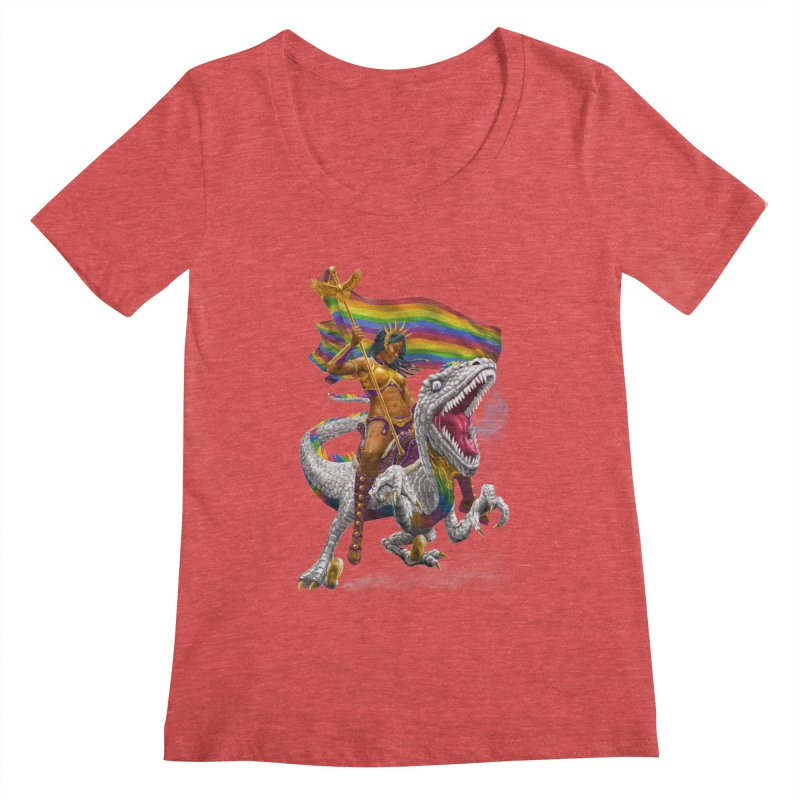 Liberty Rainbow Raptor Women's Scoopneck by Ayota Illustration Shop