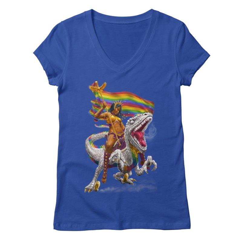 Liberty Rainbow Raptor Women's V-Neck by Ayota Illustration Shop