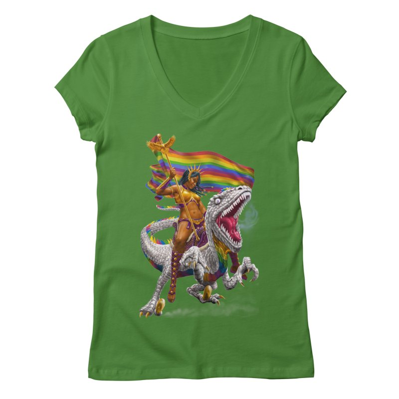 Liberty Rainbow Raptor Women's V-Neck by Ayota Illustration Shop