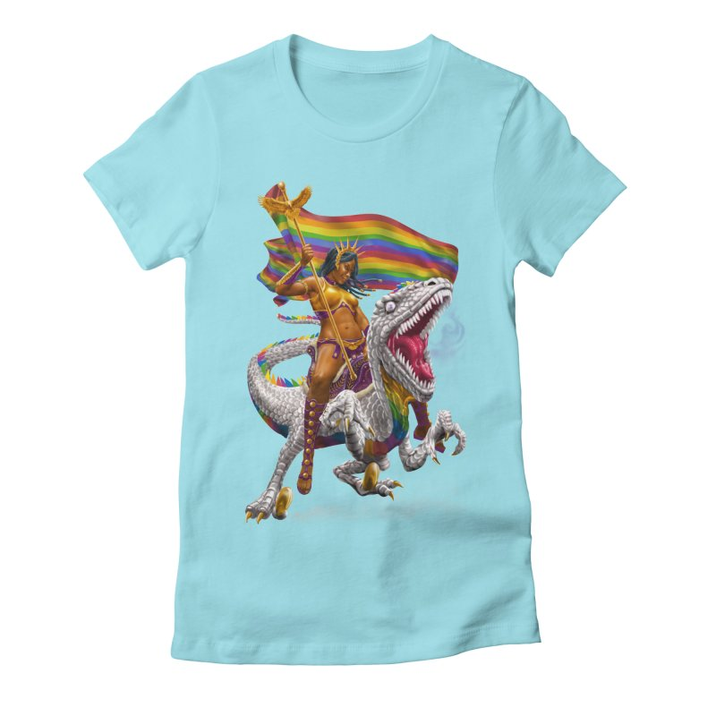 Liberty Rainbow Raptor Women's Fitted T-Shirt by Ayota Illustration Shop