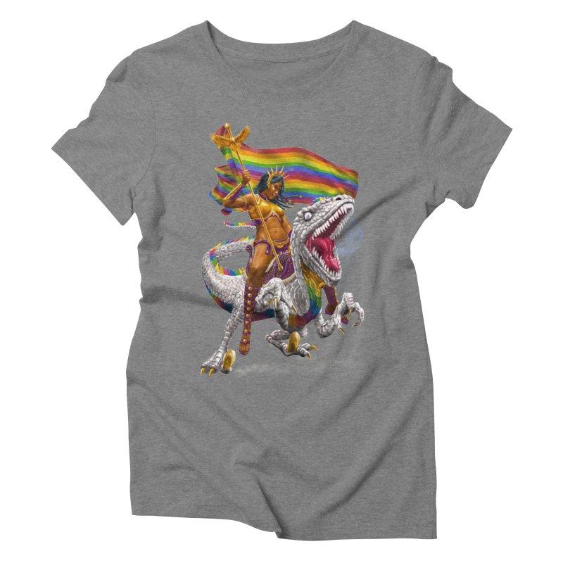 Liberty Rainbow Raptor Women's T-Shirt by Ayota Illustration Shop
