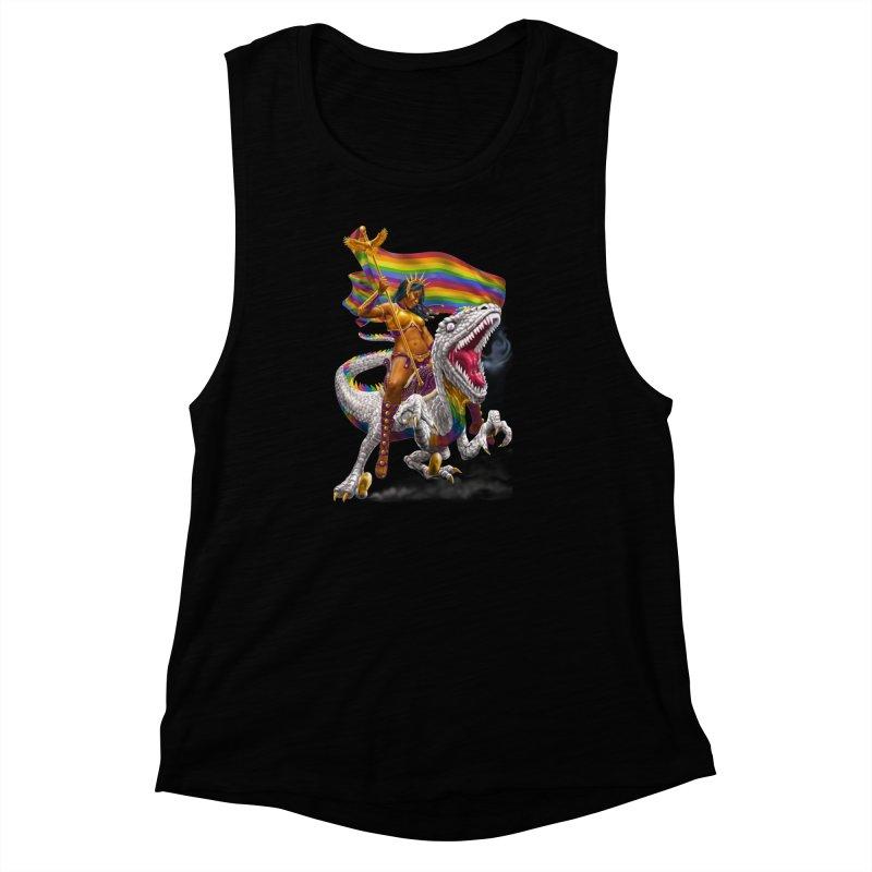 Liberty Rainbow Raptor Women's Muscle Tank by Ayota Illustration Shop