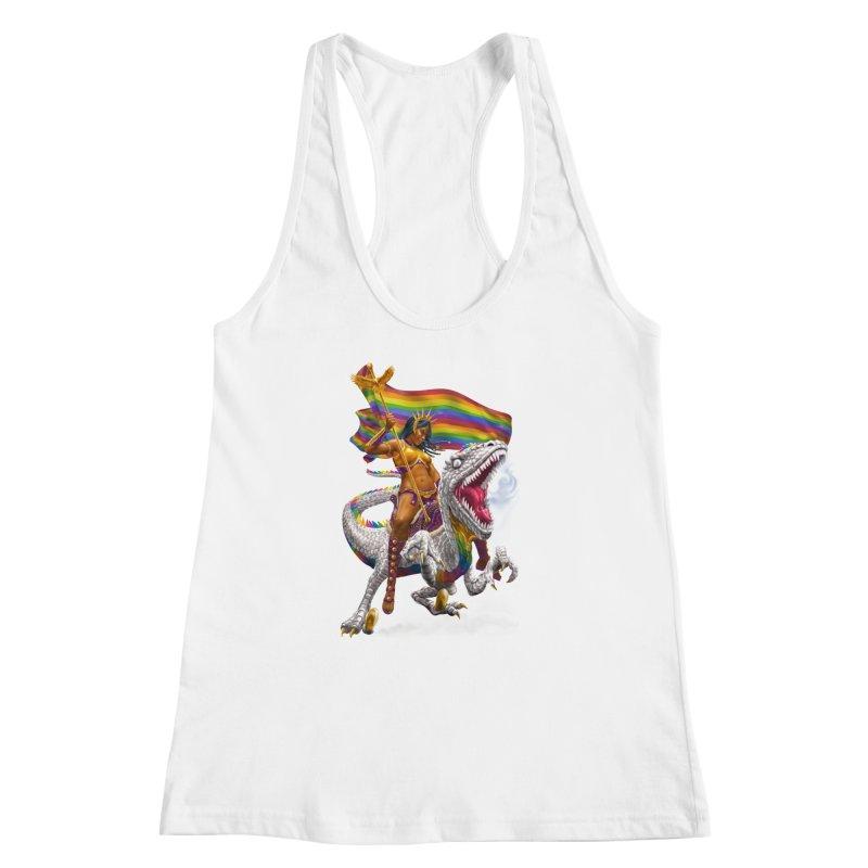 Liberty Rainbow Raptor Women's Racerback Tank by Ayota Illustration Shop