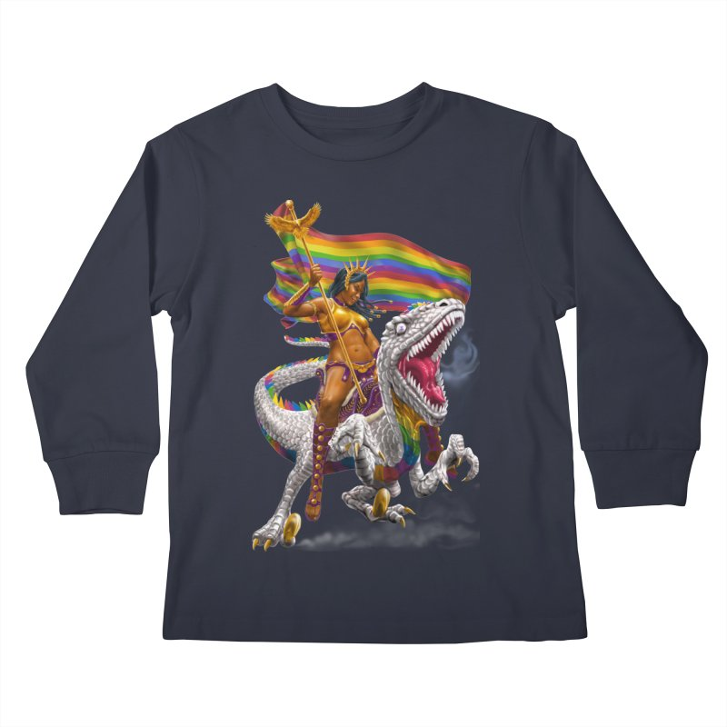 Liberty Rainbow Raptor Kids Longsleeve T-Shirt by Ayota Illustration Shop