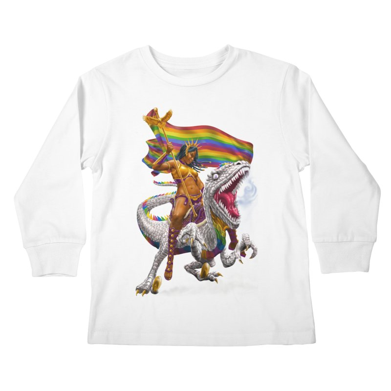 Liberty Rainbow Raptor Kids Longsleeve T-Shirt by Ayota Illustration Shop