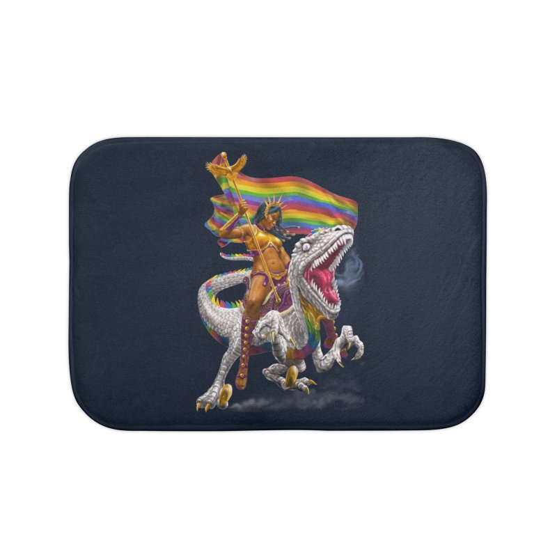 Liberty Rainbow Raptor Home Bath Mat by Ayota Illustration Shop