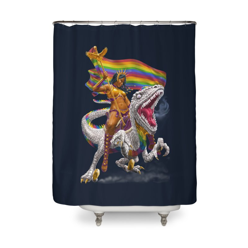 Liberty Rainbow Raptor Home Shower Curtain by Ayota Illustration Shop