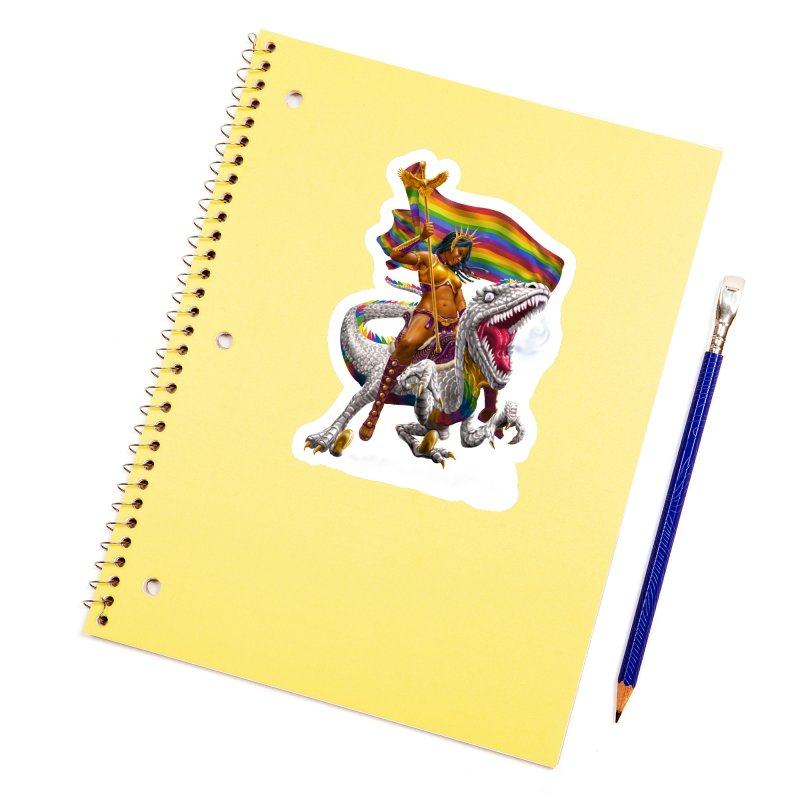 Liberty Rainbow Raptor Accessories Sticker by Ayota Illustration Shop