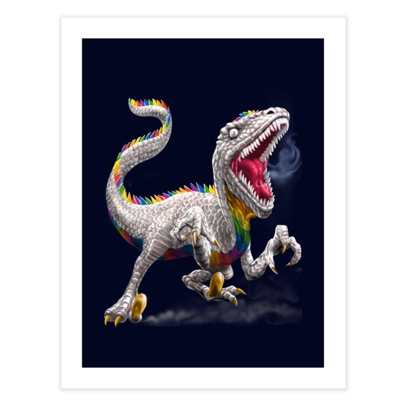 Rainbow Raptor Home Fine Art Print by Ayota Illustration Shop
