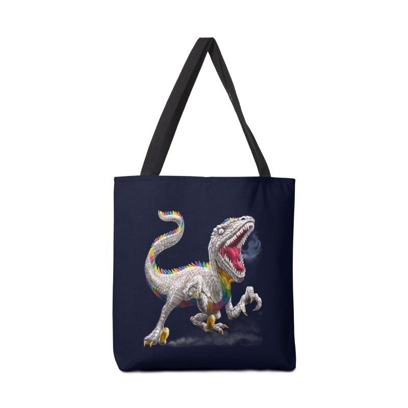 Rainbow Raptor Accessories Bag by Ayota Illustration Shop