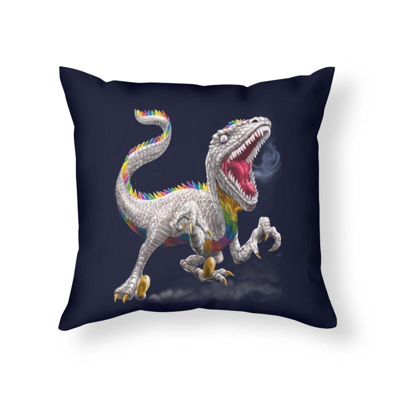 Rainbow Raptor Home Throw Pillow by Ayota Illustration Shop