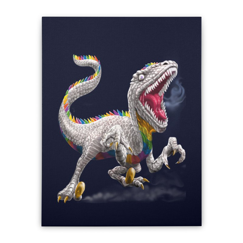 Rainbow Raptor Home Stretched Canvas by Ayota Illustration Shop