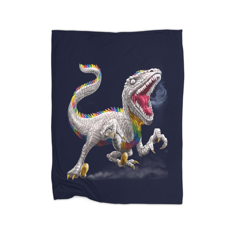 Rainbow Raptor Home Blanket by Ayota Illustration Shop