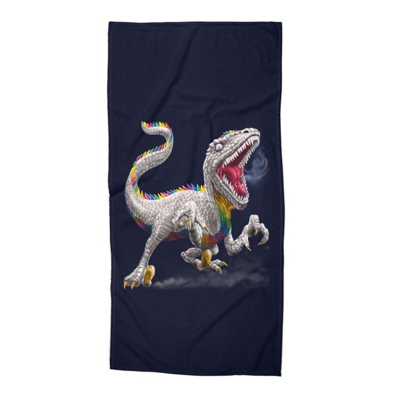 Rainbow Raptor Accessories Beach Towel by Ayota Illustration Shop