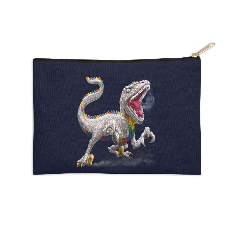 Rainbow Raptor Accessories Zip Pouch by Ayota Illustration Shop
