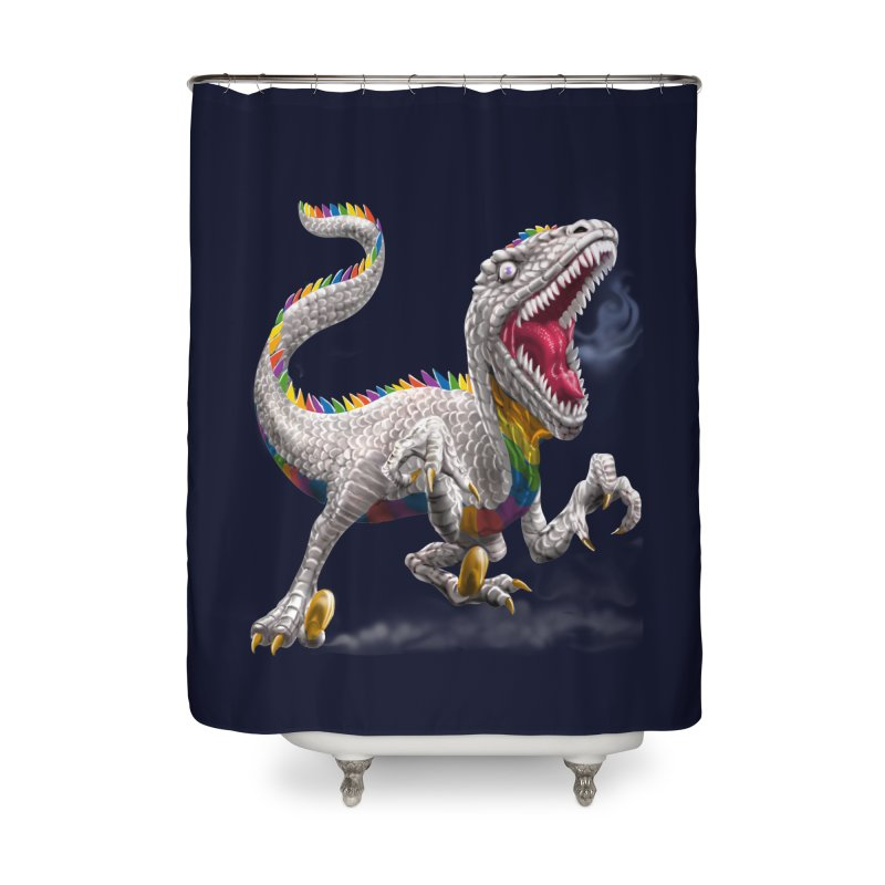 Rainbow Raptor Home Shower Curtain by Ayota Illustration Shop