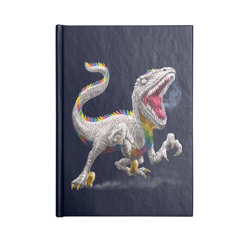 Rainbow Raptor Accessories Notebook by Ayota Illustration Shop