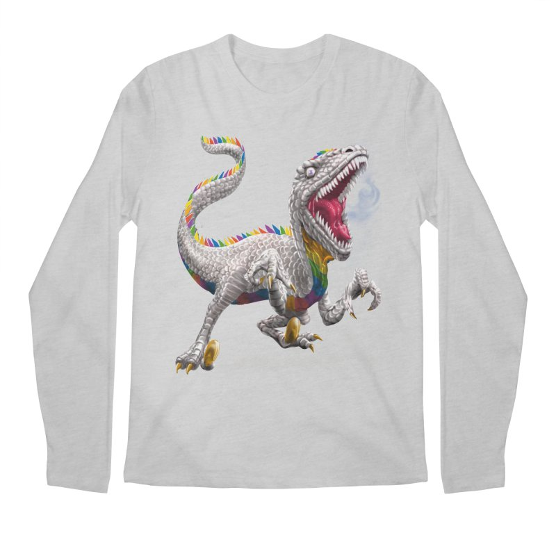 Rainbow Raptor Men's Regular Longsleeve T-Shirt by Ayota Illustration Shop