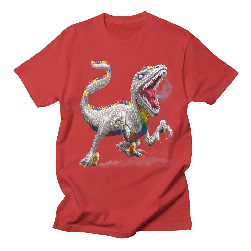 Rainbow Raptor Men's Regular T-Shirt by Ayota Illustration Shop