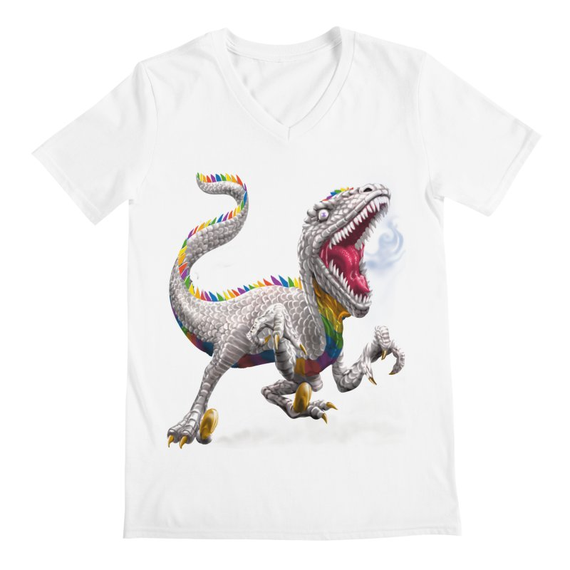 Rainbow Raptor Men's V-Neck by Ayota Illustration Shop