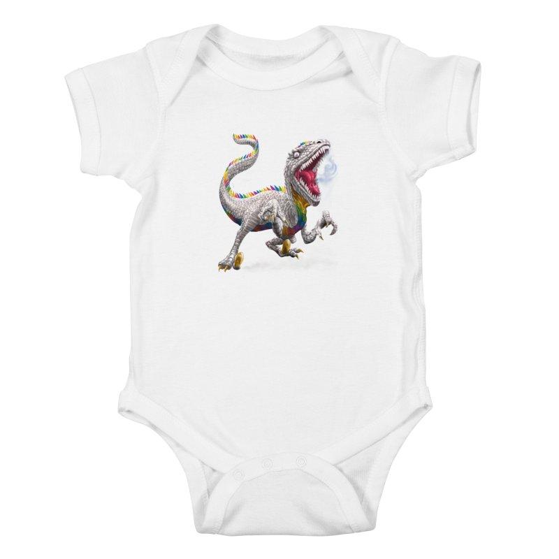 Rainbow Raptor Kids Baby Bodysuit by Ayota Illustration Shop