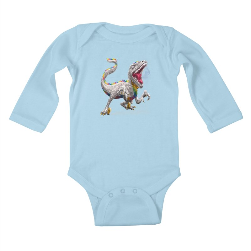 Rainbow Raptor Kids Baby Longsleeve Bodysuit by Ayota Illustration Shop