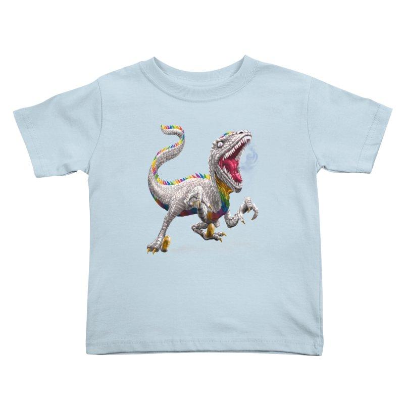 Rainbow Raptor Kids Toddler T-Shirt by Ayota Illustration Shop