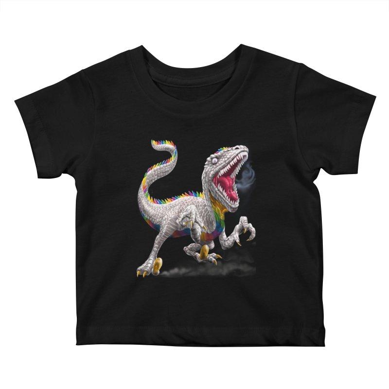 Rainbow Raptor Kids Baby T-Shirt by Ayota Illustration Shop