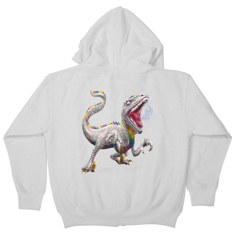 Rainbow Raptor Kids Zip-Up Hoody by Ayota Illustration Shop