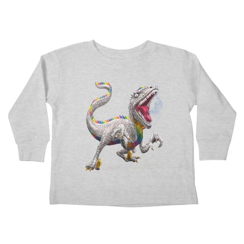 Rainbow Raptor Kids Toddler Longsleeve T-Shirt by Ayota Illustration Shop