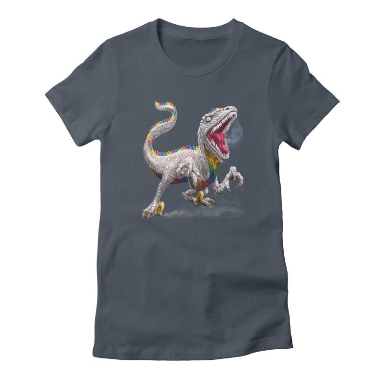 Rainbow Raptor Women's French Terry Zip-Up Hoody by Ayota Illustration Shop