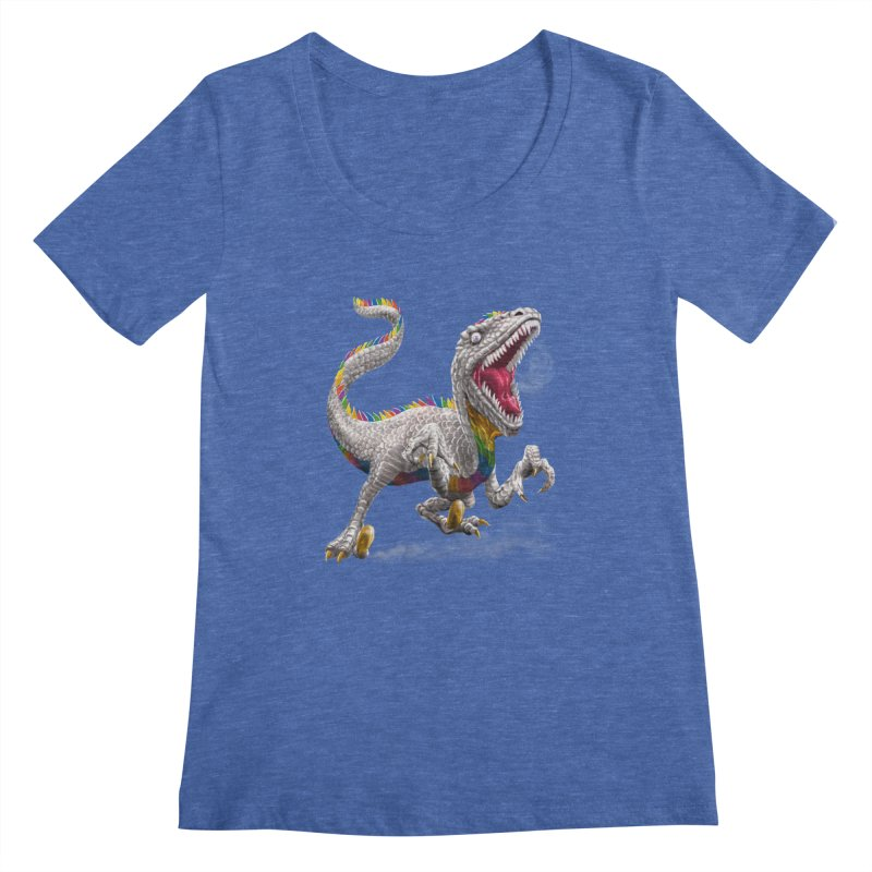 Rainbow Raptor Women's Scoopneck by Ayota Illustration Shop