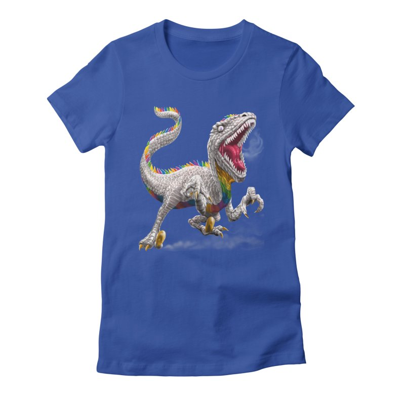 Rainbow Raptor Women's Fitted T-Shirt by Ayota Illustration Shop