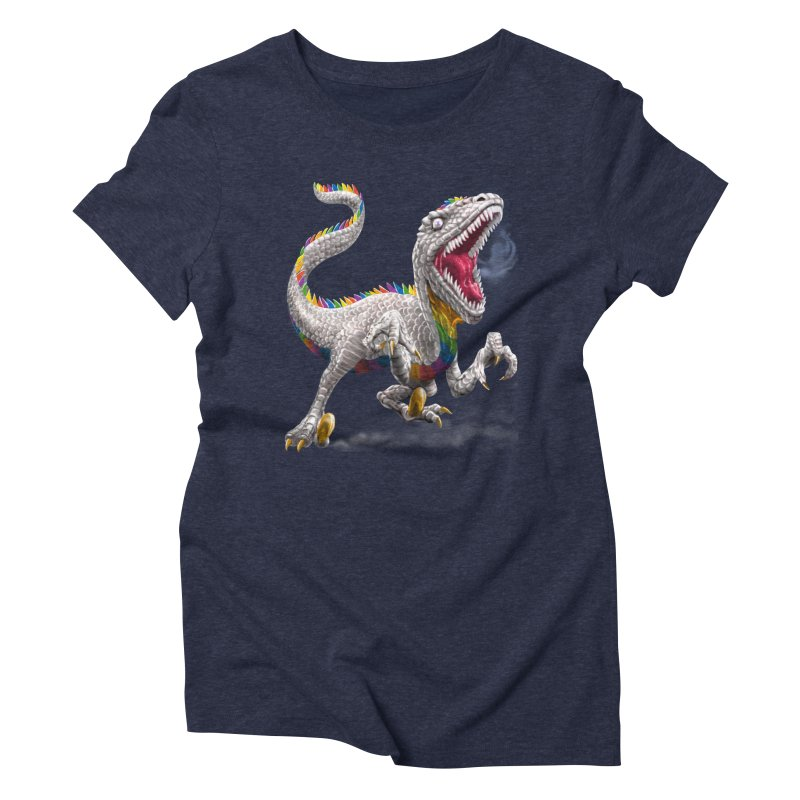 Rainbow Raptor Women's Triblend T-Shirt by Ayota Illustration Shop