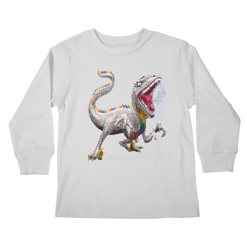 Rainbow Raptor Kids Longsleeve T-Shirt by Ayota Illustration Shop