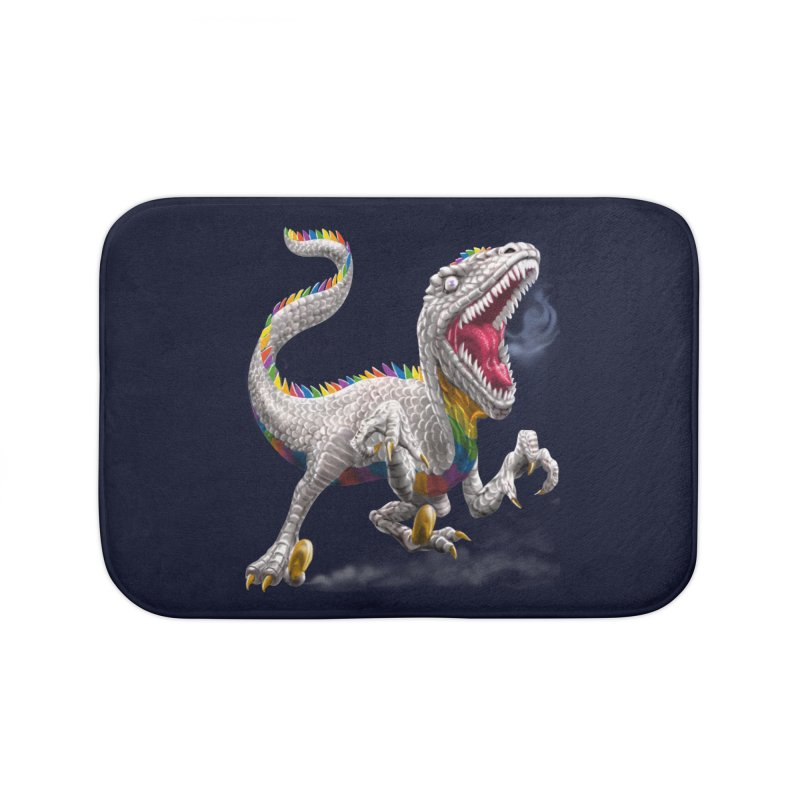 Rainbow Raptor Home Bath Mat by Ayota Illustration Shop