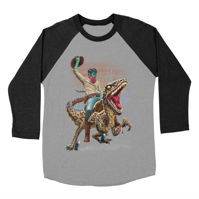 Zombie Rodeo Raptor Women's Baseball Triblend T-Shirt by Ayota Illustration Shop