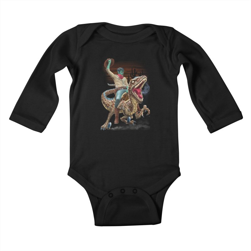Zombie Rodeo Raptor Kids Baby Longsleeve Bodysuit by Ayota Illustration Shop
