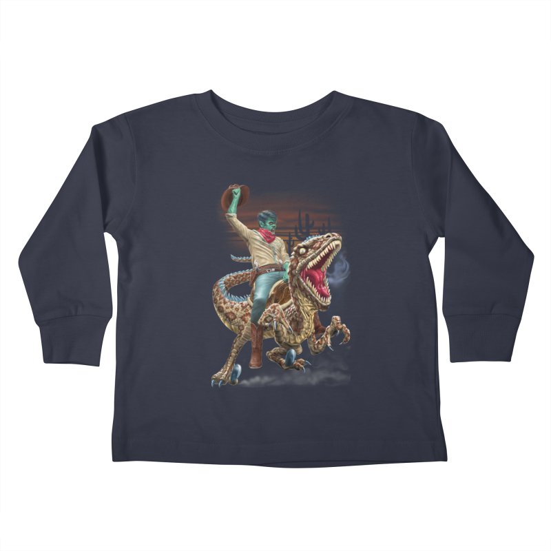 Zombie Rodeo Raptor Kids Toddler Longsleeve T-Shirt by Ayota Illustration Shop