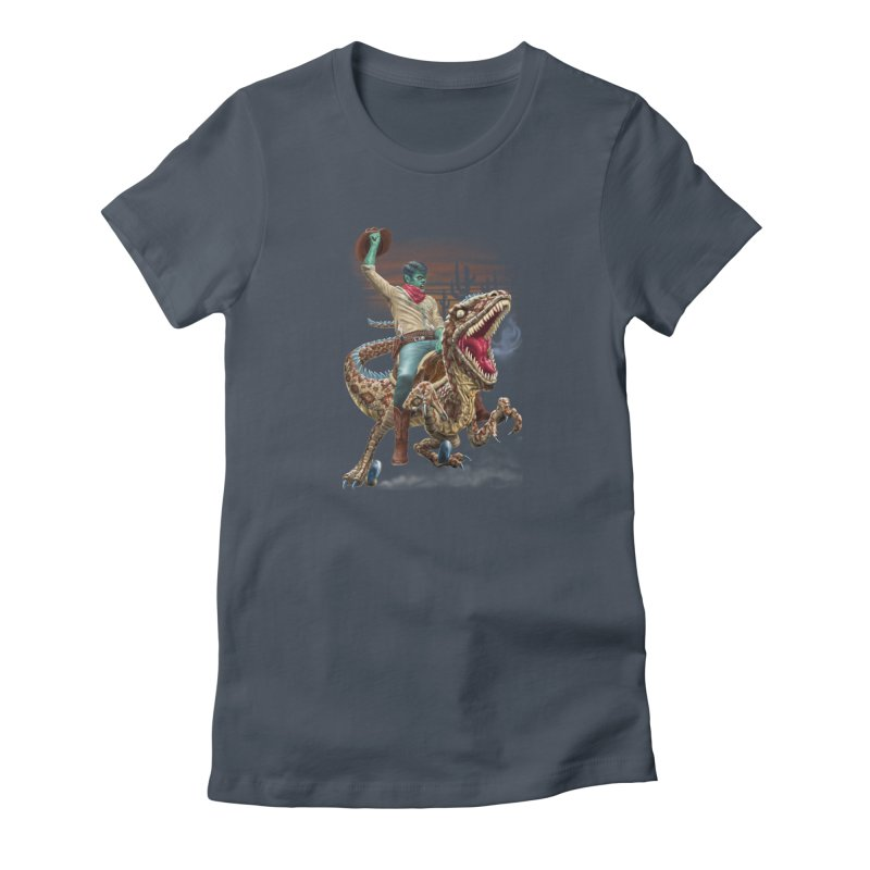 Zombie Rodeo Raptor Women's French Terry Zip-Up Hoody by Ayota Illustration Shop