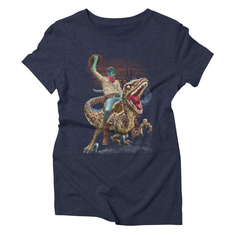 Zombie Rodeo Raptor Women's Triblend T-Shirt by Ayota Illustration Shop