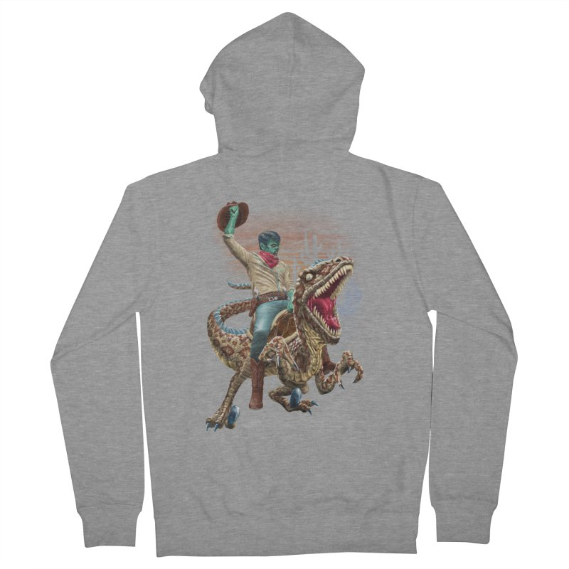 Zombie Rodeo Raptor Men's French Terry Zip-Up Hoody by Ayota Illustration Shop