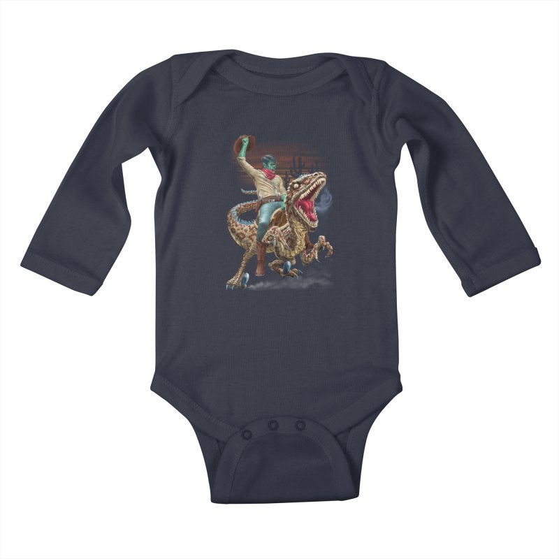 Zombie Rodeo Raptor Kids Baby Longsleeve Bodysuit by Ayota Illustration Shop