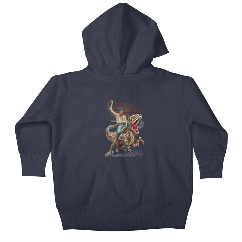 Zombie Rodeo Raptor Kids Baby Zip-Up Hoody by Ayota Illustration Shop