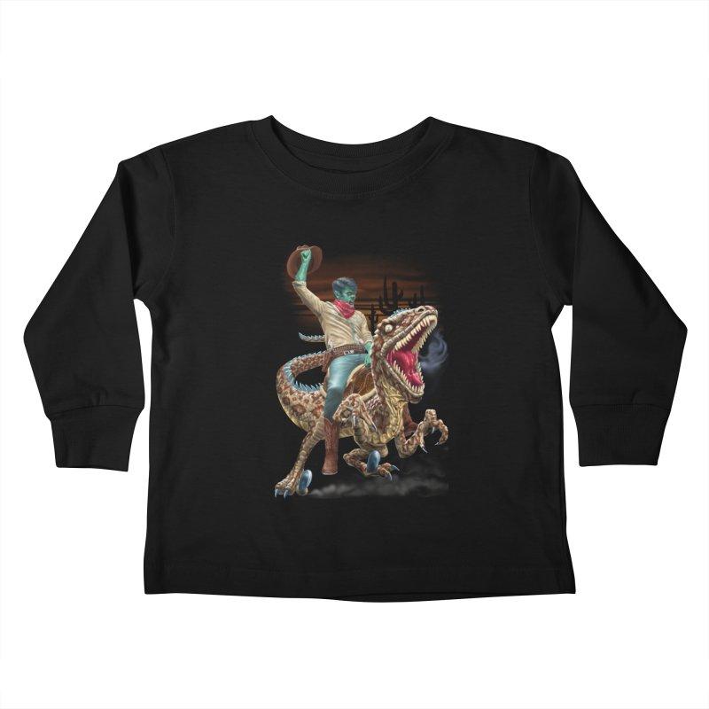 Zombie Rodeo Raptor Kids Toddler Longsleeve T-Shirt by Ayota Illustration Shop