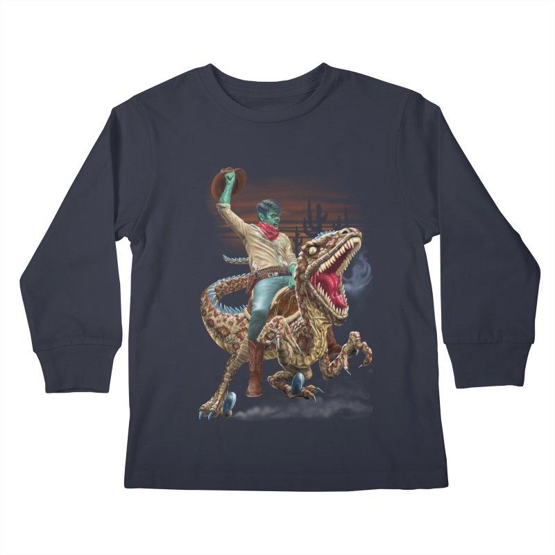 Zombie Rodeo Raptor Kids Longsleeve T-Shirt by Ayota Illustration Shop