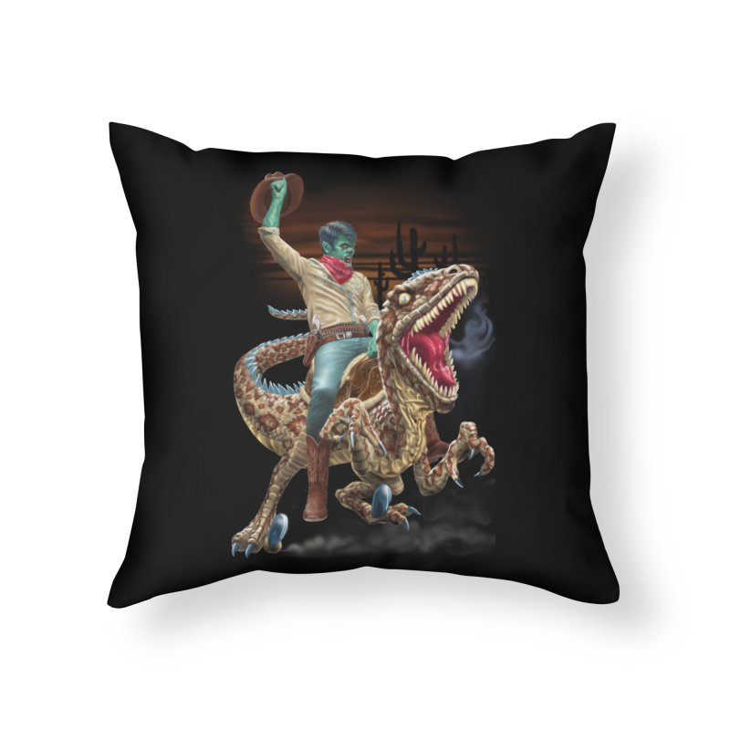 Zombie Rodeo Raptor Home Throw Pillow by Ayota Illustration Shop