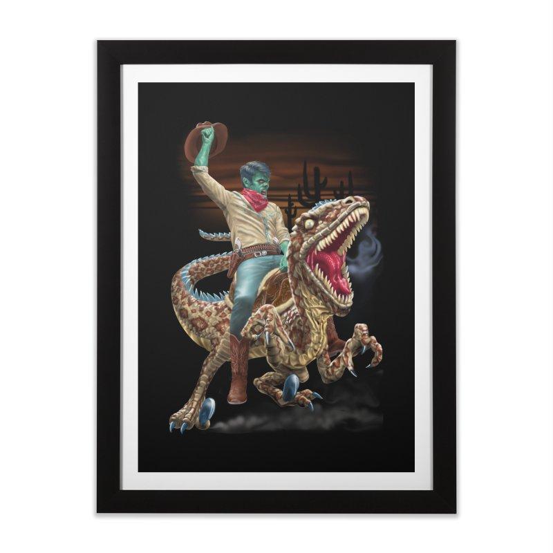 Zombie Rodeo Raptor Home Framed Fine Art Print by Ayota Illustration Shop